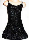 GIRLS BLACK SEQUIN STRAPPY EVENING DISCO DANCE PARTY DRESS