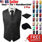 3Pcs SET Men's Formal Vest Slim Tie Hankie Causal Fit Tuxedo