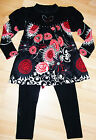 GIRLS BLACK DIAMONTE RED FLOWER PRINT WINTER KNIT TOP & LEGGING