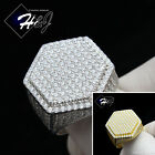 MEN 925 STERLING SILVER LAB DIAMOND GOLD/SILVER ICED OUT HEXAGON BLING RING*GR56