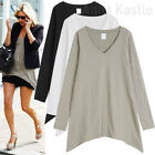 AnnaKastle Women's Long Sleeves Asymmetric Hem Casual Long Top T shirts size S