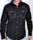 Affliction Black Premium Men's OVERTAKE Long Sleeve Dress Shirt - 10WV445 Black