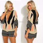 Women Sexy Deep V Neck 3/4 Flare Sleeve Elastic Wasit Backless Geometric Print A