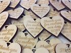 Personalised 8cm XL   Wooden Engraved Hearts Wedding  Favours rustic natural