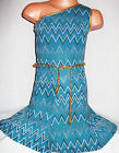 GIRLS GOLD TRIM TEAL BLUE GLITTERY ZIG ZAG PRINT ONE SHOULDER PARTY DRESS