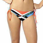 Fox Racing Divizion Womens Lace Up Bikini Bottoms Sea Foam Blue/Orange/Black