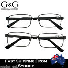 G&G Mens Italy Desig Spring Loaded Reading Glasses Matt black Gun Black +1.0~3.5