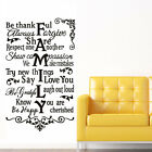 Family house rules VII wall stickers Decal Removable Art Vinyl Decor Home Kids