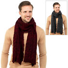 Mens Cable Knit Scarf Grey Or Burgundy With Black Speckle Winter Accessory Neck