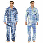 Mens Check Flannel Traditional Pyjama Set Button Shirt PJ Night Wear Warm Cotton