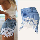 Fashion Women Lady High Waist Hole Shorts Jeans Denim Lace detail Short Pants