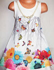 GIRLS 60s WHITE FLOWER BUTTERFLY PRINT CHIFFON SWING PARTY DRESS with NECKLACE