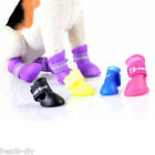 4Pcs Cute Dog Pet Boots Silicone Gel Waterproof Anti-skid Puppy Shoes Set