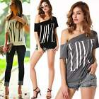 Sexy Women's Girls Love Print Short Sleeve Blouses Tops One Shoulder Tee T-Shirt