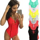 Sexy Womens V-Neck Jumpsuit Lace Up Tie Sleeveless Bodysuit Short Rompers T4Z9