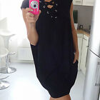 Women Fashion Sleeveless V Neck Lace-Up Cross Cocktail Pockets Mini Dress