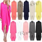 New Womens Plain Hi Lo Long Sleeve Collared Chiffon Shirt Dress Loose Button Top