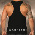 Mens Gym Spartan Black Warrior Design Racer Back Vest Muscle Fitness Top Boxing