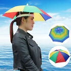 FOLDABLE UMBRELLA SUN HAT  FISHING CAMPING FANCY DRESS MULTICOLOUR
