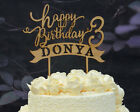 Personalized Custom Rustic Happy Birthday Cake Topper with date and Name 088