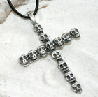 SKULL CROSS SKULLS GOTH Pewter Pendant Leather Necklace