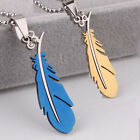Men's Stainless Steel Silver Green Black Feather Chain Pendant Necklace Beauty