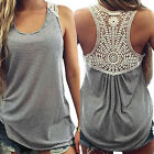 Fashion Womens Summer Lace Vest Top Sleeveless Casual Tank Blouse Tops T-Shirt