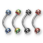 One 316L Surgical Steel Stripe Balls Curved Bar Eyebrow Ring