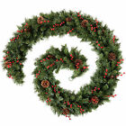 Pre-lit Garland Christmas Decoration Warm White LEDs Red Cream Gold Frosted Pine