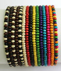 Mens Wooden Bead Tribal / Surfer Elastic Bracelet - 4x3mm beads - 15 Colours NEW