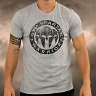 Mens Gym Spartan Logo Grey T Shirt Fitness Muscle Top Boxing MMA Martial Arts