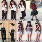 Kids Girls Outfit T-shirt Top Jeans Pants Romper Jumpsuit Dress Clothes SET 2-8Y