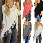 BD Fashion Women Long Sleeve Blouse Tassel Slash Cotton Blouse Tops Shirt Casual