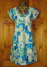 NEW WHITE STUFF CREAM GREEN BLUE FLORAL LINED SUMMER COTTON TUNIC DRESS TOP UK 8