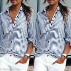 JP 1 PC Women Fashion Blue White Stripe Sexy Casual Long Sleeve blouse Tops