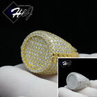 MEN 925 STERLING SILVER LAB DIAMOND GOLD/SILVER ICED OUT ROUND BLING RING*SR61