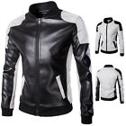 WINTER Fashion Mens Long Sleeve PU Leather Slim Fit Motorcycle Jacket Coat Tops