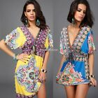 Stylish Ladies Women Loose Sexy V-neck Retro Style Beach Dress N98B