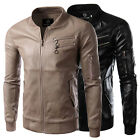 Men's Fashion Casual PU Leather Basic Jacket Coat Tops Leisure Outdoor Biker NEW