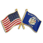 PinMart's Wisconsin and USA Crossed Friendship Flag Lapel Pin