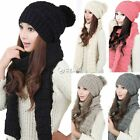 2015 Women's Winter fashion Knitted Scarf and Hat Set Thicken Knitting Skullcaps