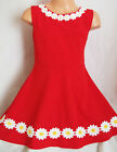 GIRLS 50s STYLE RED DAISY TRIM SPECIAL OCCASION FLARED SKATER PROM PARTY DRESS