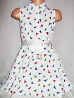 GIRLS WHITE BIRD PRINT FLARED CASUAL PARTY SHIRT DRESS with RIBBON BELT