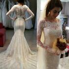 Long Sleeve Lace Mermaid Ivory White New Sexy Wedding Bridal Gown Dress Custom