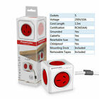 Power Cube Allocator Adaptor Ports Charger 5 Sockets 1.5m 3m Cords Red