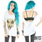 IRON FIST HERE KITTY WOMEN WHITE DRAPE T-SHIRT