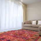 Red Distressed Faded Bordered Area Rug Traditional Persian Oriental Vines Carpet