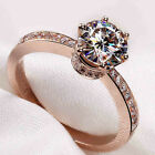 Size 5-11 Vintage Jewelry 925 Silver Rose Gold CZ Topaz Wedding Band Crown Ring