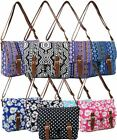 NEW WOMENS HOLIDAY CANVAS AZTEC FLORAL COLLEGE SCHOOL TRAVEL LAPTOP SATCHEL BAG