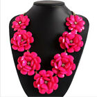 Jewelry Pendant Chain Chunky Statement Flowers Necklace Crystal Choker